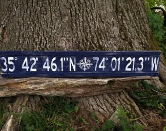 Personalized latitude longitude sign/custom longitude latitude wood sign/family GPS coordinates sign/distressed coordinates/blue latitude
