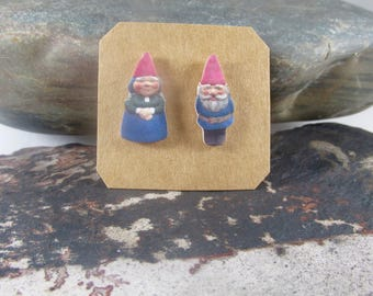 Garden Gnome Stud Earrings, Mr. and Mrs. Gnome Earrings, Gnome Couple Studs, Fairy Earring Studs