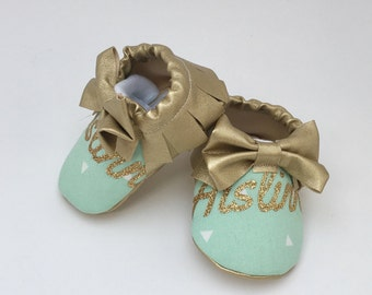 baby shoes with name, custom baby shoes, personalized baby moccasins, baby girl shoes, mint baby shoes, mint moccasins, gold baby shoes