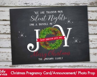 Christmas Pregnancy Announcement Christmas Pregnancy Photo Prop Chalkboard Announcement Xmas Pregnancy Christmas Pregnancy Announcement Card