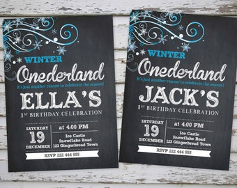 Winter Onederland Invitation, Winter Wonderland Invitation, Winter Onederland Invite, Snoflake Invitation DIY