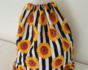 Sunflower Print extra large Cotton Laundry Bag, Travel Bag, or Utility Bag