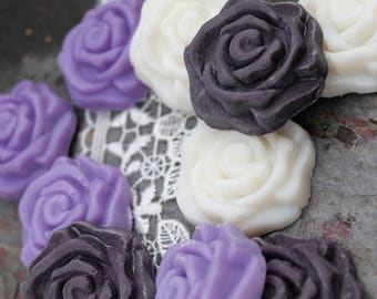 Set of 25 assorted purple rose soaps