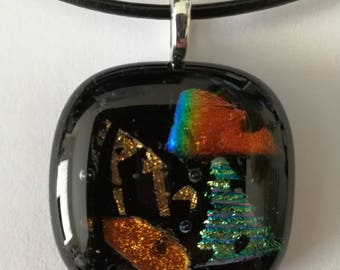 Black fused glass dichroic pendant