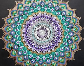 Mandala wall art/ mandala painting/bohemian/dot work/ dotillism/ painting/ 30x40/ meditation/ yoga/spiritual/flower/ gold Kaylabreen2017©