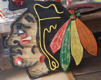 Chicago Blackhawks Head Logo Reclaimed Wood Wall Sign
