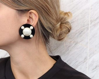 Signed 'Chanel' Classic Black and Faux Pearl Earrings c. 1980's