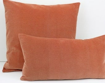 Peach Hand Made Velvet Cushion Cover with Natural Linen Back