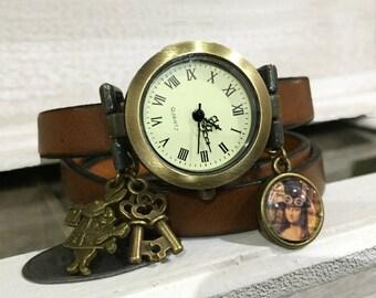 Wrap Watch, Bracelet Watch, Wrist Watch, Vintage Watch Real Leather for women , brown Bracelet