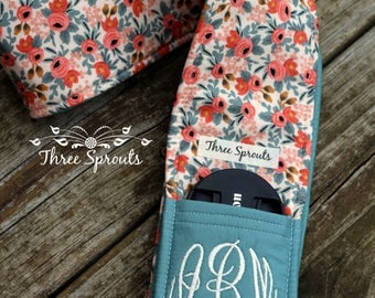 Camera Strap Cover, Camera Strap, Monogrammed Camera Strap, Rifle Paper Company Fabric - Rosa Peach Floral