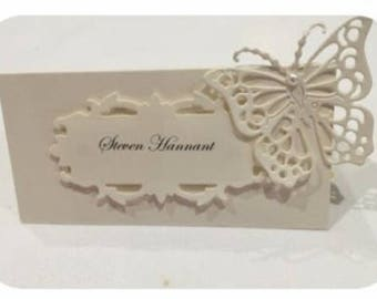 Wedding place cards, Wedding Day stationery, fold over place cards, wedding reception tended place cards.