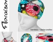 yoga or sport headband printed artwork my Marika Lemay mixed media artist scarf and face warmer