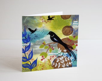 Bird greeting card by Marika Lemay mixed media artist  blank inside floral and nature art