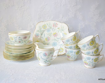 Vanessa by Minton, Full Vintage Tea Set, Mid Century Design, Vintage Minton China, Minton China, Vitage Bone China, Wedding Tea Set, c1950s