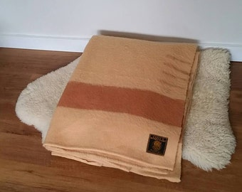 Vintage Earlys Witney 4 Point Blanket in Golden Colour with Tan Stripe, Trapper Blanket, Point Blanket.
