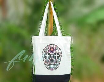 Cross skull tote bag 2 size Two tone off-white/black Sale tote bag