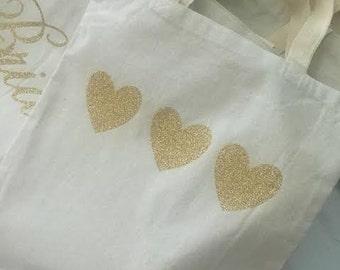Three Heart Glitter Gold Canvas Tote Bag