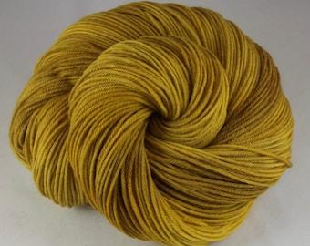Hand Dyed Sock Yarn, hand dyed wool, variegated sock yarn, sock yarn, yellow, brown