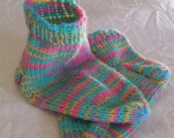 Hand knit toddler girl ankle socks