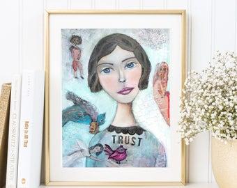 """hochwertiger Kunstdruck """"TRUST"""", Vertrauen, weibliches Porträt, Poster, Chagall inspiriert, feminine Kunst, moderne Kunst, Interior"""
