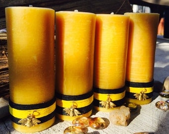 Pure Beeswax Pillar Candles-100% Beeswax Pillar Candle wrapped in natural hemp & charmed w/a honey bee-organic beeswax candles-pillar candle