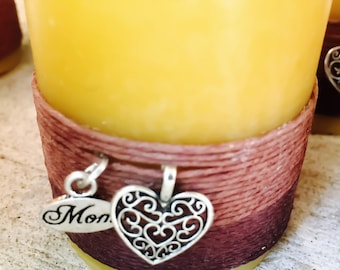 "100% Pure Beeswax Candle-beeswax pillar candle-wrapped w/natural hemp cord-Mom & Heart Charm-pure beeswax candle-3""-6""-organic"