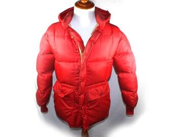Puffer Jacket Vintage Mens Karakoram EDDIE BAUER Coat Down Red Parka Goose Down Hiking Hooded Rain Ski Parka Jacket Size xs Made in USA