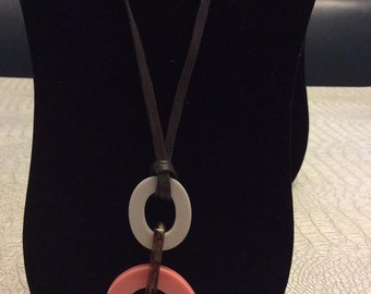 Sweet resin pink and tan adjustable pendant necklace