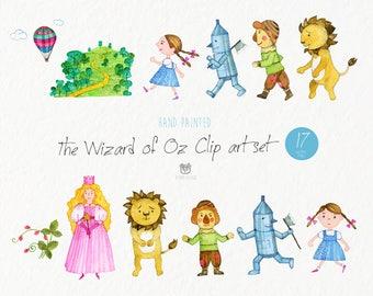 Watercolor clip art, the wizard of Oz, dorothy, lion, tin woodman, scarecrow, vector, nursery art, wolf, children's book, instant download