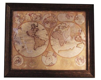 "Vintage ""Le Globe Terrestre"" 1690 World Map Walnut/glass framed in VGC ca. 1980"