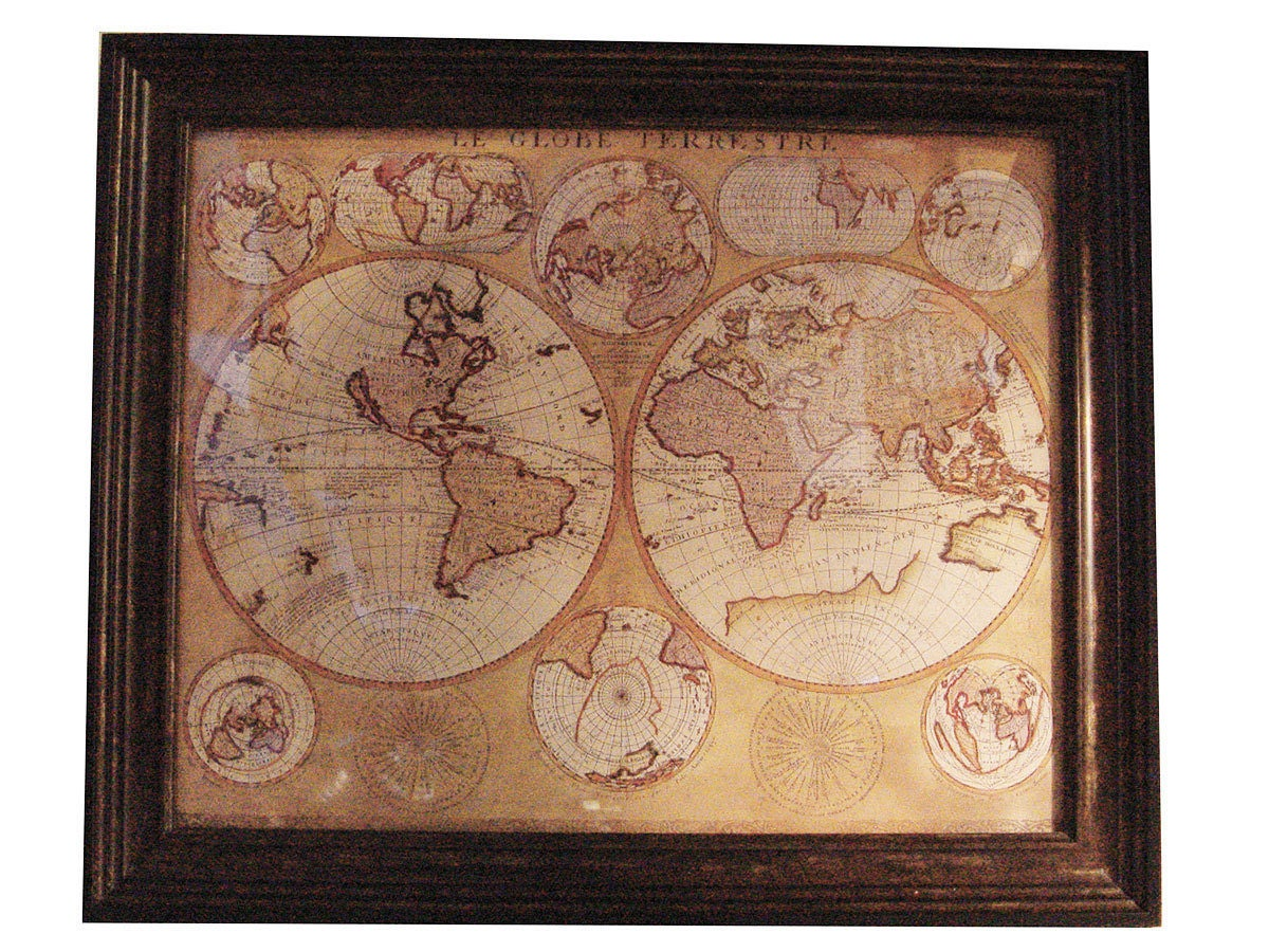 vintage le globe terrestre 1690 world map. Black Bedroom Furniture Sets. Home Design Ideas