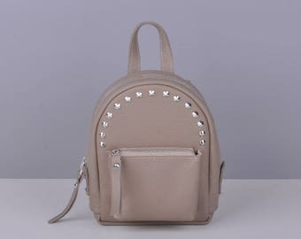 Beige leather backpack - Baby-Sport