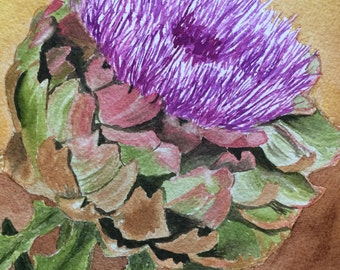 Artichoke in Bloom, original painting by Laurel S.