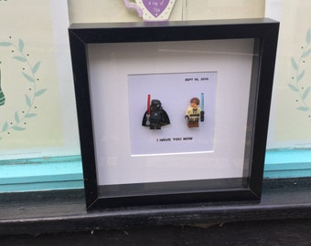 Darth Vader Star Wars lego replica frame with custom couple Wonder Woman, Chewie Chewbacca, Ben Obi Wan Kenobi Personalised Christmas Gift