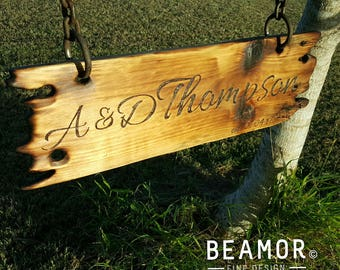Rustic Wood sign personalised with pyrography Wedding Signs Wood Burning Mancave accessories