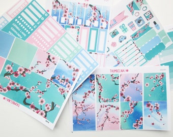 Sakura Cherry Blossom Full Weekly Kit Planner Stickers for Erin Condren Life Planner and more (K34)