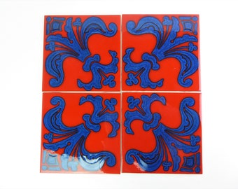 Vintage kitchen tiles, mid century modern, bright, retro ceramic wall tiles 1960's Pilkington's and Carter, red and blue.