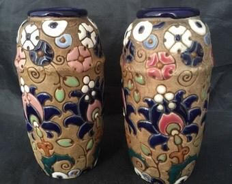 Amphora Art Pottery Vase Austria Pair Art Nouveau Arts & Crafts Movement Secessionist Era Pair Vintage Antique Home Decor Decorative Vases