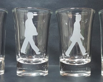 Sandblast Etched The Beatles Abbey Road 1.5 oz. Shot Glasses