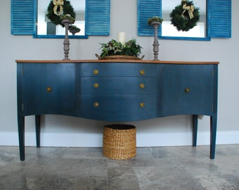 Hand painted vintage Regency sideboard. Aubusson Blue. 5.5ft