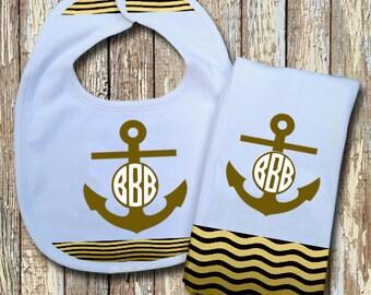 Anchor Monogrammed Baby Bib with matching Burp Cloth Set (Sage)