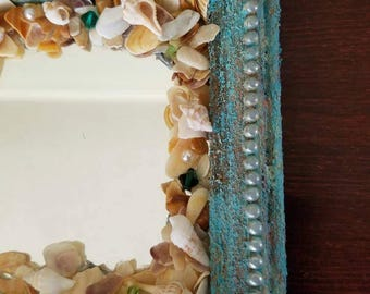 Seashell mirror, mixed media, highly textured verdigris look for coastal decor, beach decor, cottage.