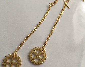 Heart Cog Dangle Earrings