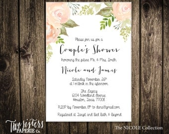 Printable Couple's Shower Invitation - Printable Invitation - Floral Watercolor - NICOLE Collection