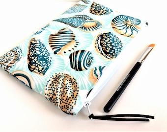 Makeup Bag - Zipper Pouch - Gift for Her - Cosmetic Bag - Small Makeup Bag - Pencil Pouch - Seashell Zipper Pouch