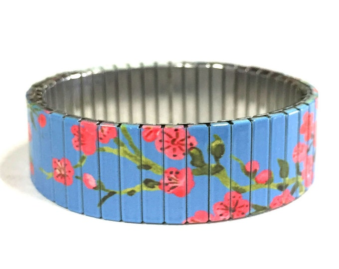 Cherry blossom bracelet on Blue, Stainless Steel, Repurpose Watch Band, Stretch Bracelet, Wrist Band, Sublimation, gift for friends