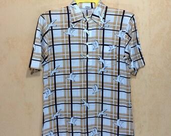 70s Vintage TIKI Hawaii Surfing Polo All Over Print Shirt Single Pocket