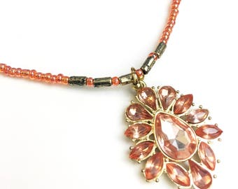 Handmade Beaded Necklace - Orange and Gold with Bling Pendant