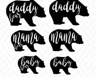 Daddy, Mama and Baby Bear; SVG, DXF, EPS, Ai, Png and Pdf Cutting Files for Electronic Cutting Machines