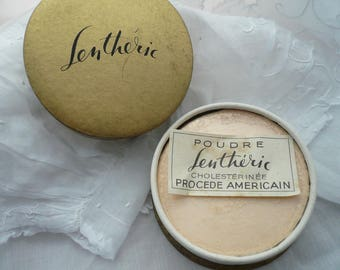 Vintage French Powder Box, French Face Powder Box, Lentheric Paris Face Powder, 1940's